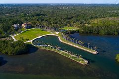Aerial image of the historical Miami Deering Estate on Biscayne. Aerial image Deering Estate Miami Florida shot with a drone Royalty Free Stock Photography