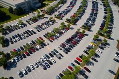 Cars in a parking lot. Aerial image of hundreds of cars in a parking lot Stock Photo