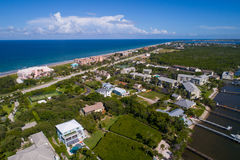 Aerial image of Hutchinson Island Florida. Aerial drone image Hutchinson Island Florida royalty free stock image