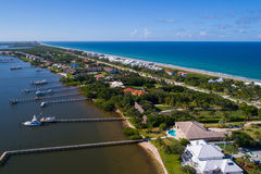 Homes in Hutchinson Island Florida. Aerial image of Hutchinson Island Florida USA royalty free stock images