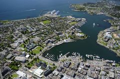 Aerial image of Victoria, BC, Canada. Aerial image of the inner harbor, Victoria, Vancouver Island, BC, Canada royalty free stock photos