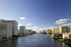Aerial image of the Intracoastal Waterway. In Hallandale Beach FL Royalty Free Stock Photo
