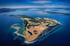 Aerial of James Island, Salish Sea, BC, Canada royalty free stock image