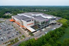Aerial image of Jordans Home Depot shopping center Reading Massachusetts royalty free stock image
