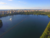 Aerial image of a Lake at Central Park Royalty Free Stock Photos