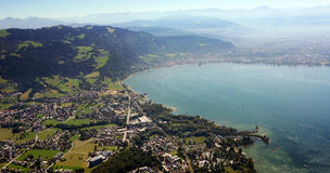 Aerial image of Lake Constance stock photo