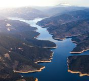 Aerial Image of a lake in Northern California with Mt Shasta in the Background royalty free stock photography