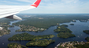 Aerial image of lake Tegeler See Royalty Free Stock Photos