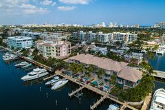 Aerial image of luxury homes with dockage fort lauderdale florid. Aerial image of luxury homes on Las Olas Fort Lauderdale Florida stock images