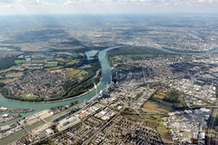 Aerial image Mannheim, Germany. River Neckar Royalty Free Stock Images