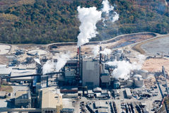 Aerial image of a manufacturing plant. Royalty Free Stock Images