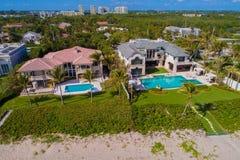 Luxury waterfront real estate mansions Boynton Beach FL. Aerial image of many waterfront beach homes in Boynton Beach Florida Royalty Free Stock Photo