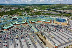 Aerial image of Meadowhall, one of the largest shopping malls in the UK in Summer 2019 royalty free stock photo