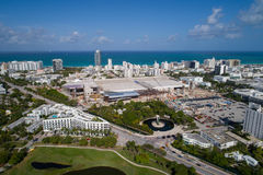 Aerial image of the Miami Beach Convention Center under construc. Aerial image of the Miami Beach Convention Center under renovation and expansion Stock Photos