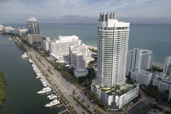 Aerial image of Miami Beach resorts stock photos