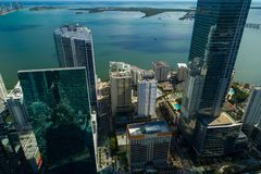 Brickell skyscrapers Miami FL bayfront. Aerial image of Miami Brickell Skyscrapers bayfront shot with a drone Royalty Free Stock Images