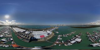Aerial spherical image of the Miami International Boat Show Key Stock Photos