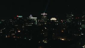 Aerial image of Montreal Canada by night stock photos
