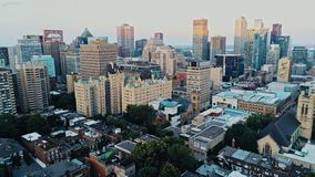 Aerial image of Montreal during a hazy summer day royalty free stock photography