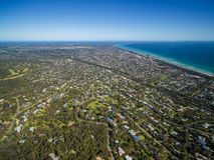 Aerial image of Mornington Peninsula. And Rosebud suburb taken from Arthurs Seat. Melbourne, Victoria, Australia royalty free stock image