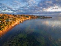 Aerial image of Mornington Peninsula at sunset. Aerial image of Mornington Peninsula coastline at sunset royalty free stock photos
