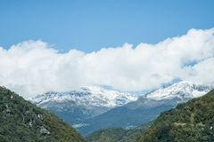 Aerial Image of Mountain Covered by Snow Stock Photography