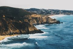 Aerial Image of Mountain and Ocean Royalty Free Stock Photography