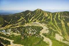 Aerial image of Mt. Washington alpine ski resort, BC, Canada stock photo