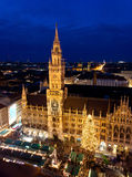 Aerial image of Munich with Christmas Market Stock Photography