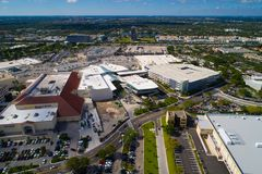 Aventura Mall new food court construction and slide 2017. Aerial image of the new wing at Aventura Mall food court and functional slide royalty free stock photography