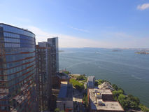 Aerial image New york Hudson River Royalty Free Stock Photography