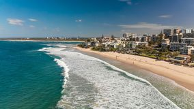 Aerial image of ocean waves on a Kings beach, Caloundra. Queensland, Australia stock video