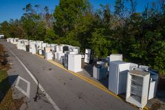 Old appliances discarded after Hurricane Irma in the FLorida Key Royalty Free Stock Photo