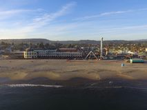 Aerial Image of an pacific ocean Beach  Sunset  Santa Cruz  Boardwalk California royalty free stock images