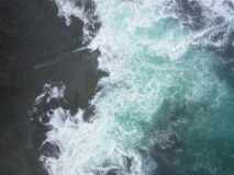 Aerial Image of Pacific Ocean and Rocky Shore in California Royalty Free Stock Photography