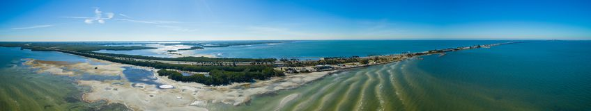 Aerial image panorama Tampa Florida Sunshine Skyway. Shot with a drone Stock Photo
