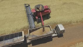 Aerial image planting seeds corn wheat with tractor machine. Aerial image made with drone Dji phantom, this image shows soybean harvest in brazil. Made in the stock video