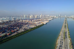 Aerial image of Port Miami Royalty Free Stock Photos