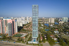 Aerial image of the Regalia Sunny Isles Beach FL on a blue sky Stock Images