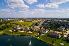 Aerial image residential rural neighborhood in Bettendorf Iowa. Aerial image of single family homes in Bettendorf Iowa USA royalty free stock photography