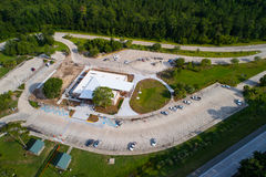 Aerial image rest area truck stop. Aerial image of a truck stop and rest area visitors center Stock Images