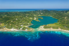 Aerial image of Roatan island, inland lake, and reef Stock Photos
