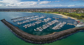 Aerial image of Sandringham Yacht club Royalty Free Stock Photos