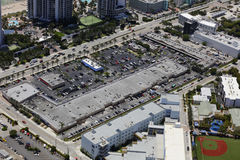 Aerial image of shopping plazas in Sunny Isles Beach FL Royalty Free Stock Image