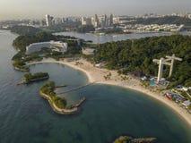 Aerial Image of Siloso Beach, at Sentosa Island Singapore royalty free stock photography