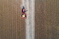Soybean harvest shoot from drone. Aerial image of soybean harvest. Combine harvester working in golden field in fall Royalty Free Stock Photography