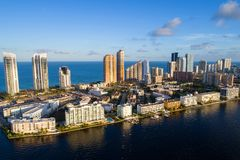 City between ocean and river. Aerial image of Sunny Isles Beach between the Atlantic Ocean and Intracoastal Stock Images