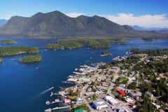 Aerial image of Tofino, BC, Canada. Aerial image of Tofino, Vancouver Island, BC, Canada stock photos