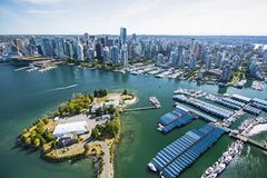 Aerial image of Vancouver, BC, Canada stock photos