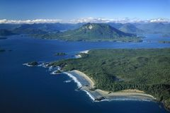 Aerial image of Vargas Island, Tofino, BC, Canada. Aerial image of Vargas Island, Clayoquot Sound, Tofino, Vancouver Island, BC, Canada stock photography